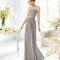 Vestido largo estrapless en color gris para damas de boda