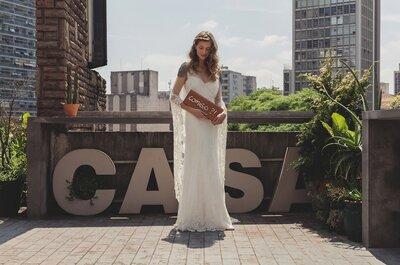 Beleza e leveza dos vestidos de Emanuelle Junqueira: editorial cool no espaço