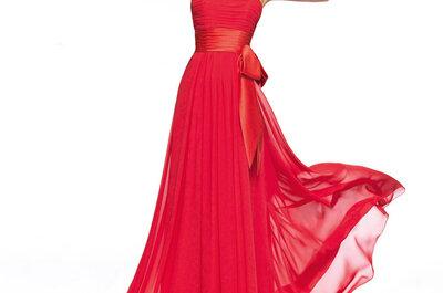 Vestidos de fiesta largos en color rojo de Pronovias 2013