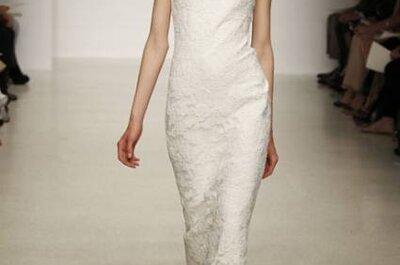 Vestido de noiva da semana Amsale rendado e corte reto