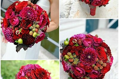 Rompé los esquemas usando un ramo de novia redondo