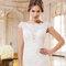Suknia ślubna z koronkową wstawką i krótkimi rękawakami, Justin Alexander 2015, 6345.