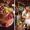 Tarta de bodas de chocolate con flores amarillas y rosas. Foto: Sarah Culver