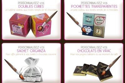 Hochzeitstischdekoration von Chocolat de Mariage: kleine Leckereien für Ihren Hochzeitstisch!