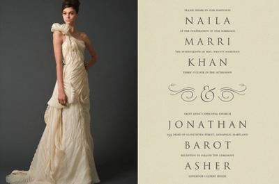 Invitaciones de boda inspiradas en vestidos de novia Vera Wang