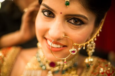 How you can transform your simple bridal look into mesmerising by adding oversized heritage nose ring.