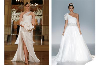 Un toque de inspiración arquitectónica: Los más lindos vestidos de novia con escotes asimétricos para 2015