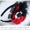 Diadema para tocado de novia en negro y rojo