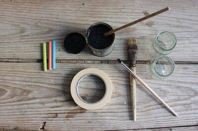 DIY: marcadores de mesas con cristal y tinta