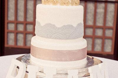 Rendas no seu bolo de casamento