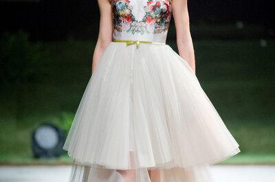 Vestidos de novias estampados 2015: Las flores conquistan los tejidos