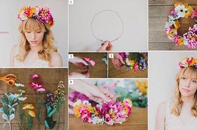 DIY! Coroas de flores com as mais bonitas com flores estivais!
