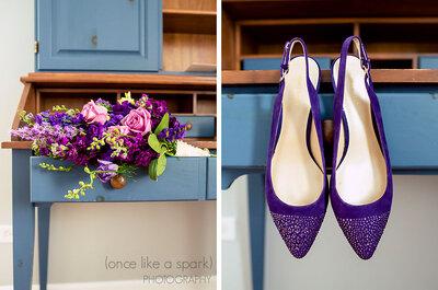 Inspirate en novias reales que se animaron a zapatos de color