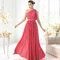 Vestido largo en color rojizo para damas de boda