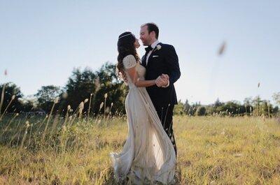Real Wedding : la mariée dans une robe Reem Acra et un cadre stylé