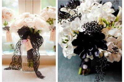 10 flores ideales para un vestido de novia con accesorios negros