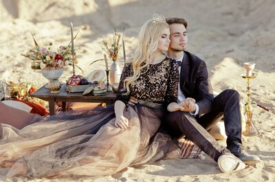 Богемная свадебная фотосессия в черно-золотых оттенках