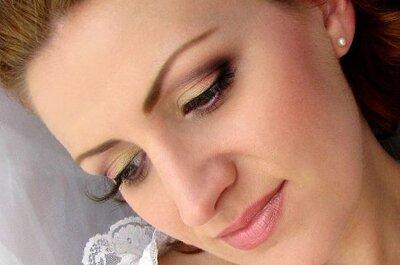 Złoto - śliwkowy makijaż ślubny krok po kroku