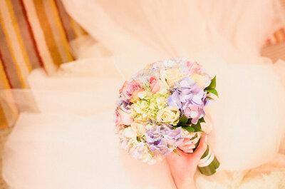 Lleva un delicado bouquet en tono pastel a tu enlace