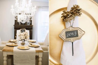 Decoración de boda con los colores negro, blanco y dorado