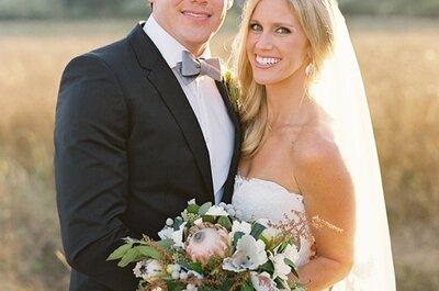 Real Wedding: Una boda boho glam al aire libre con lindos acentos en azul real