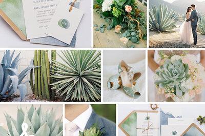 Una boda exótica decorada con cactus y suculentas: Tendencias ecológicas para tu gran día
