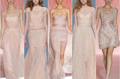 Vestidos de novia 2015: el color rosa domina las tendencias para el año que viene