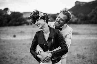 Le mariage d'Aurélie + Romain : Une demande originale, une mariée en perfecto et une journée pleine de rires!