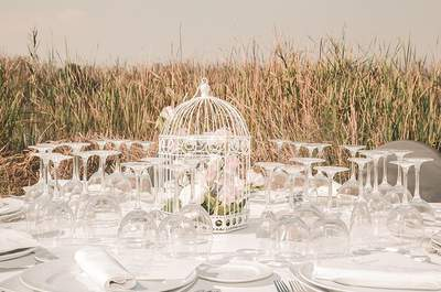 Décoration de mariage faite de cages à oiseaux