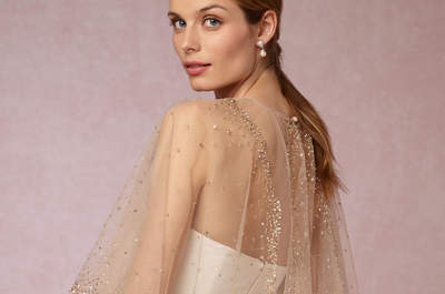 Descubre los vestidos de novia con capa que causan furor, ¡para lucir hermosa en cualquier época del año!
