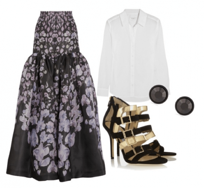 Falda de Temperley London, blusa de Equipment, zapatos de Jimmy Choo y aretes de Givenchy - Fotos de Net a Porter