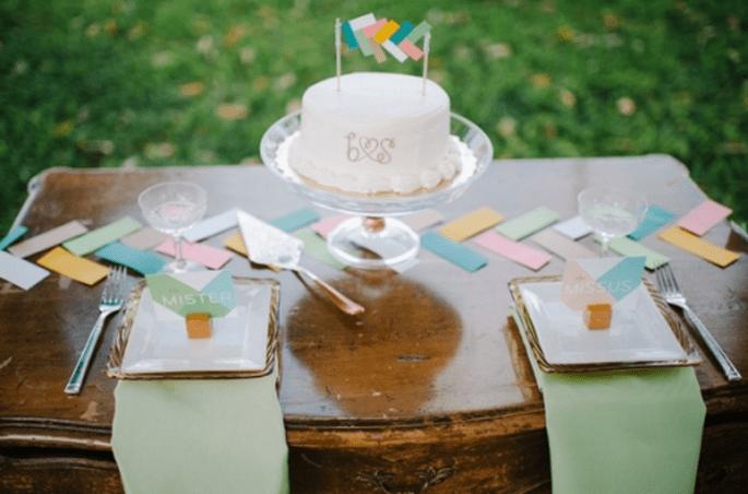 Decoración de boda con tendencia geométrica. Fotografía Desiree Dawn Events para Ruffled