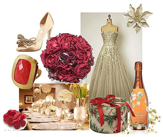 Colores para una boda navideña: Zapatos de Valentino D'Orsay. Anillo Kanupriya. Vestido dorado de Dior. Bouquets rojos de B de Blanca. Botella de Perrier 'Belle Epoque Rosé' de 2004
