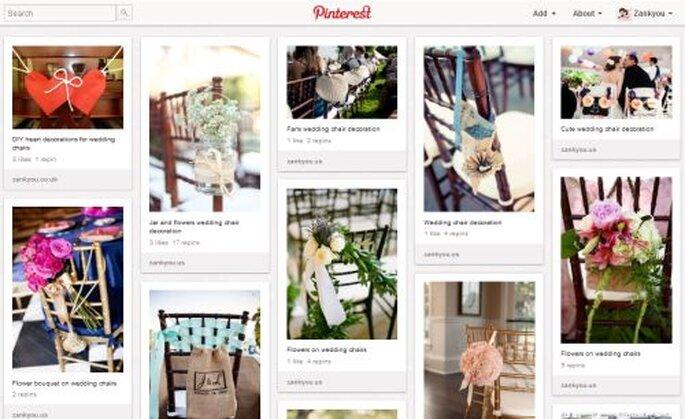 Una bacheca di Pinterest: decorazioni per sedie di nozze