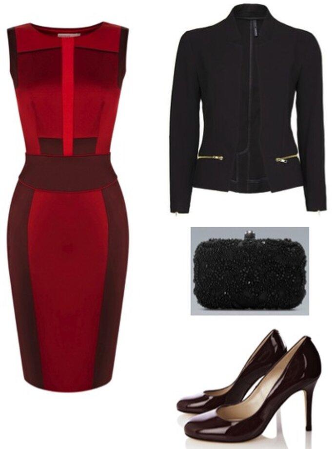 Outfit di ispirazioni seventies-futuristiche. Foto: abito e scarpe Karen Millen; giacchina Mango; Clutch Zara