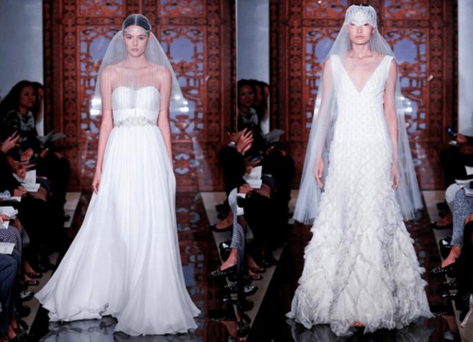 Vestidos de novia con tendencia vintage, aplicaciones de pedrería y caudas pequeñas con caídas elegantes - Foto Reem Acra