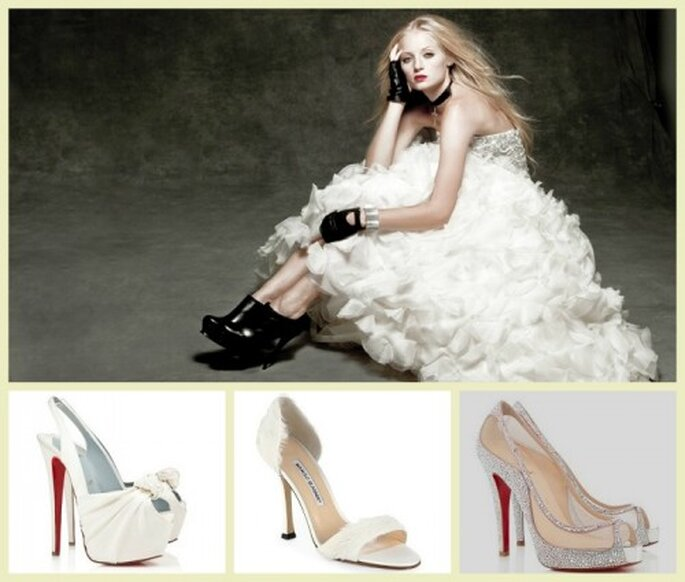 Zapatos de lujo para combinar con tu vestido de novia - Fotos Manolo Blahnik y Christian Louboutin