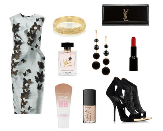 Look de fiesta inspirado en la naturaleza - Fotos: vestido y perfume de Lanvin, zapatos de Giuseppe Zanotti, clutch de YSL, brazalete de Carolina Bucci, aretes de NUR, lipstick de Armani, BB Cream de Maybelline y esmalte de NARS