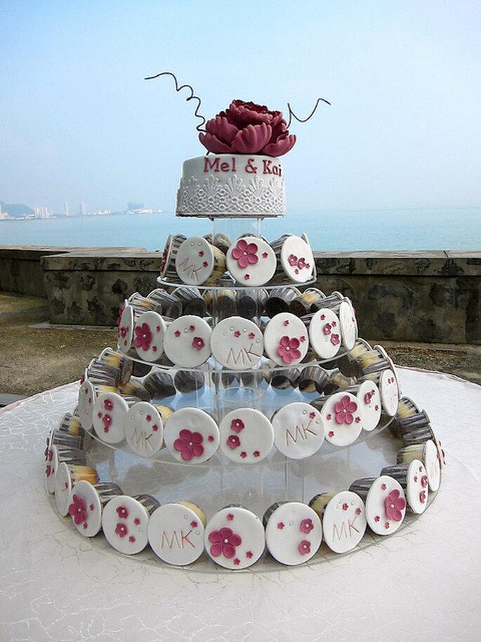 Idea práctica para pastel de bodas. Foto: Ween Nee