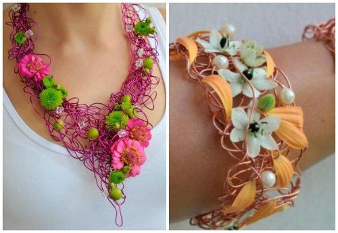Biżuteria z żywych kwiatów.