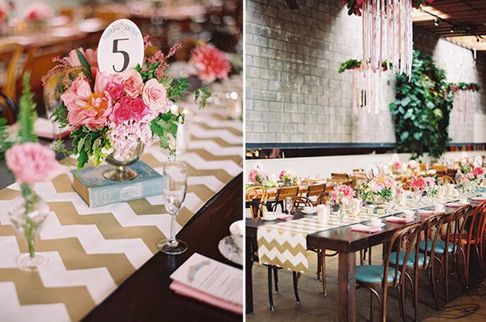 El chevron llega para vestir de gala las mesas de tu boda. Foto: Esther Sun