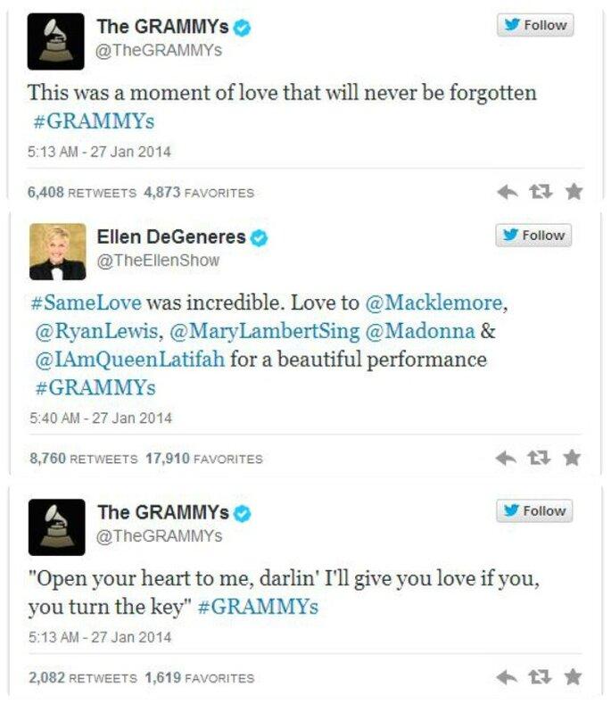 Tweets su Same Love ai Grammys