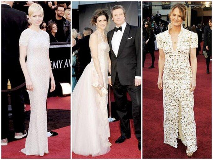 De izquierda a derecha: Michelle Williams, Livia Giuggioli & Colin Firth, Melissa Leo
