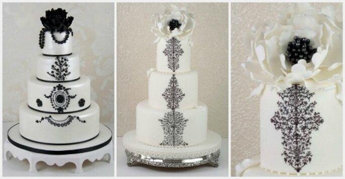 Elegantes ponqués de boda en blanco y negro. Fotos: www.cakeshautecouture.com