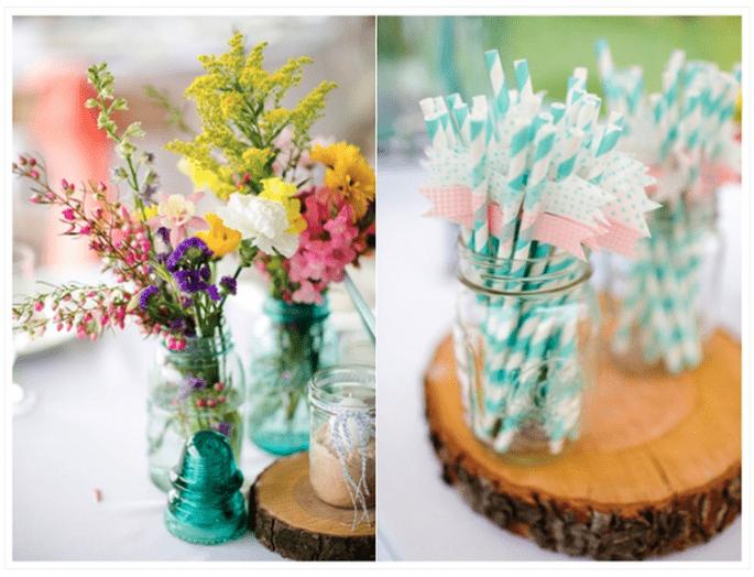 Decoración de boda con tarros de cristal - Foto Katelyn James