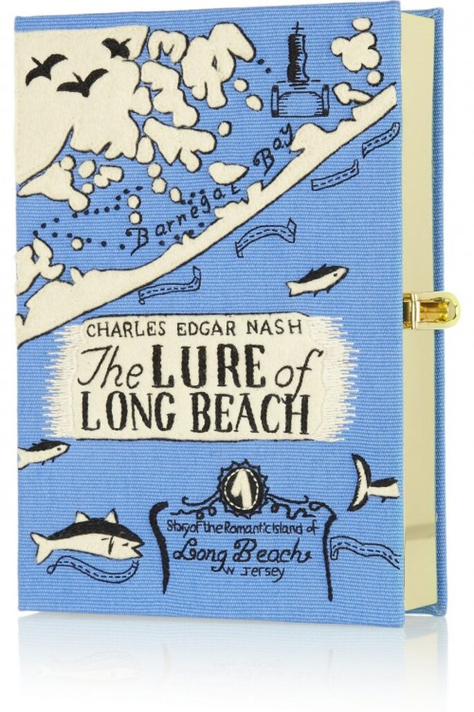 Bolso de fiesta en color azul con forma de libro - Foto Olympia Le Tan