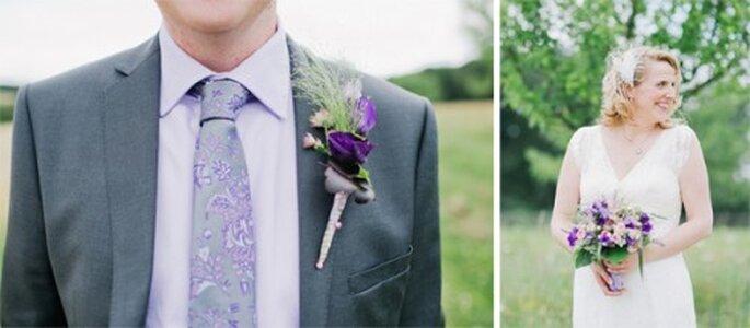 Hermoso boutonniere que combina con el ramo de novia - Foto Nadia Meli