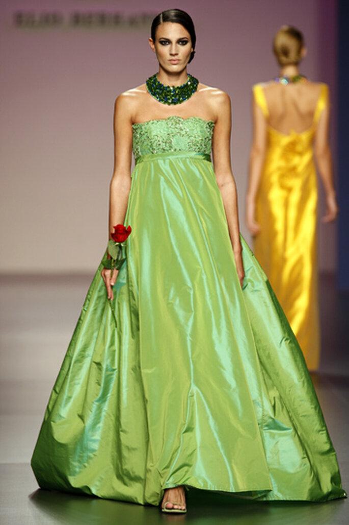 Un vestido que puede ser para una novia que guste del verde