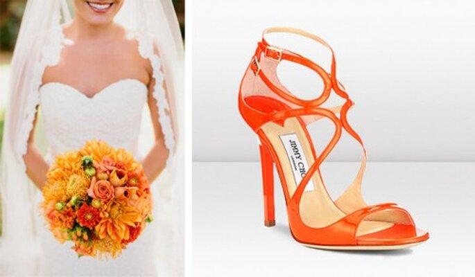 Pomarańczowe buty i bukiet ślubny