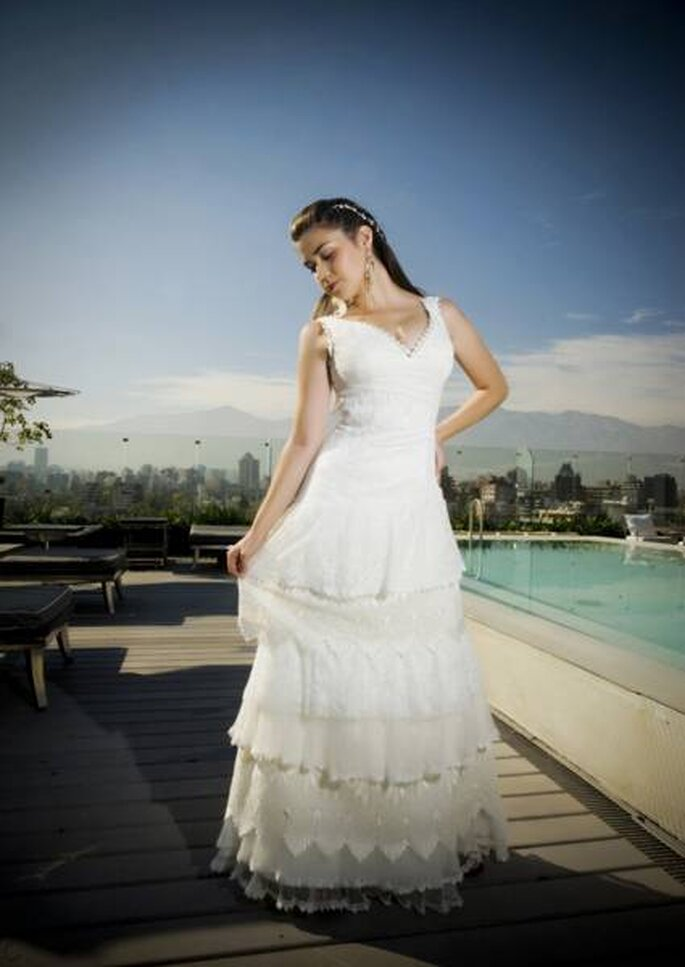 Robe de mariée à volants de Macarena Palma